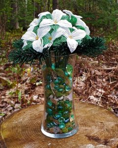 French beaded trillium bouquet with beaded pine branches